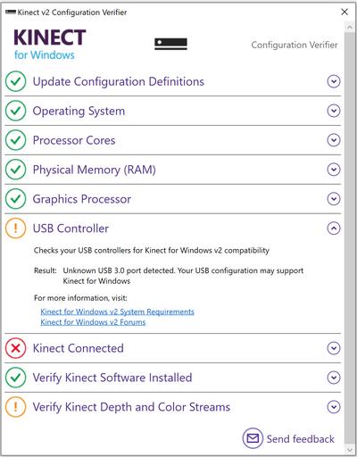 Kinect configuration verifier